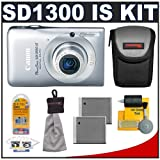Canon PowerShot SD1300 IS Digital ELPH Camera (Silver) + Batteries + Case + Accessory Kit ~ Canon