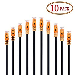 Cat6 Ethernet Cable Vandesail Cat 6 RJ45 Network Patch Cable Snagless UTP 33ft 10m Orange 10pack*(10ft/3m)