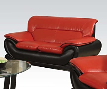 Orel Stationary Loveseat in Black and Red Finish by Acme Furniture