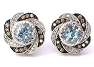LeVian Blue Aquamarine Chocolate and White Diamonds 1.75 cttw Earrings 14k White Gold