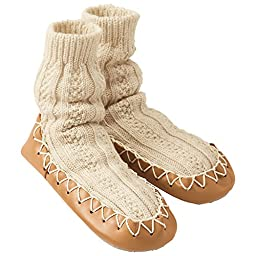 Hanna Andersson Baby Swedish Slipper Moccasins, Size 1 (1), Oat Heather