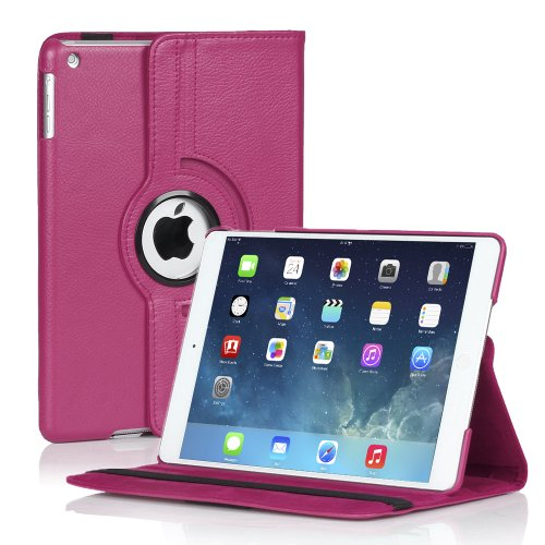 TNP iPad Mini Rotating Case (Hot Pink) 360 Degree Stand Smart Cover Flip Protective PU Leather For iPad Mini 3, iPad Mini 2 & 1, Multi Viewing Angles, Auto Sleep & Wake Feature & Stylus Holder (Cheapest Ipad 1 compare prices)