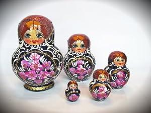 Russian Nesting Doll Wooden Hand Made Matryoshka Babushka 5 Pc