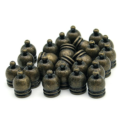 20 Pcs Decorative DIY Crafts Brownish Black Metal Cap Bells, 9*13mm