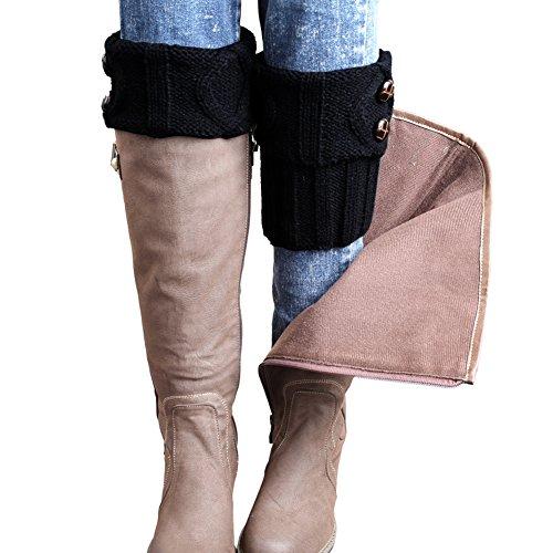 FAYBOX Winter Leg Warmer Crochet Knit Boot Socks Button Black