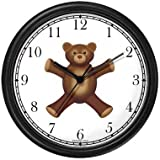Teddy Bear (Happy Face) - Bear - JP Animal Wall Clock by WatchBuddy Timepieces (Black Frame)