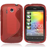 CooltechStuff Red S Line Series Silicone Gel Rubber Case Cover Skin For HTC Explorer A310e