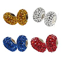 Beads Hunter (Set of 2) Sterling Silver Swarovski Elements Crystal Stone Round Ball Beads