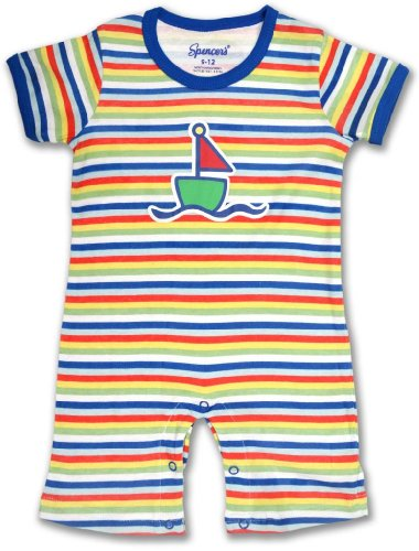 "Spencer'S ""Anchors Aweigh"" Striped Romper-12/18M"