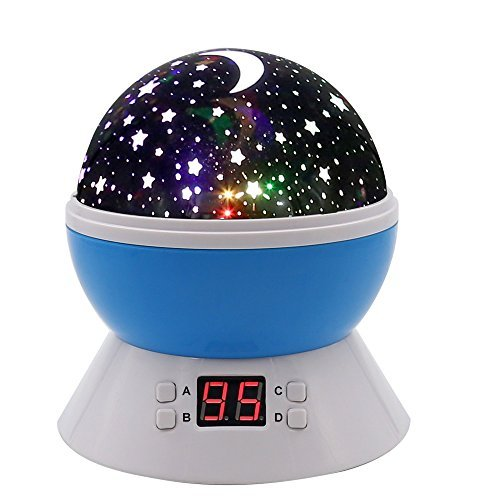 MOKOQI Modern Rotating Moon Sky Projection LED Night Lights Toys Table Lamps with Timer shut off & Color Changing For Baby Girls Boys Bedroom Decorative Lights Gift Baby Nursery Lights(Blue) (Shower Timer With Shut Off compare prices)