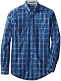 Nautica Mens Big-Tall Long Sleeve Poplin Plaid Shirt