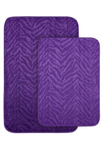 Garland Rug Zebra 2-Piece Bath Rug Set, Purple front-429566