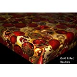 Christmas PVC Tablecloth, Xmas Oilcloth, Vinyl - Gold & Red Baubles - 200x140cm - By TheFabircTrade