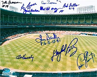 Cleveland Indians Municipal Stadium autographed photo 8x10 signed by Feller, Rosen, Perry, Charboneau, Barker, Harder, Boone, Francona, Kennedy