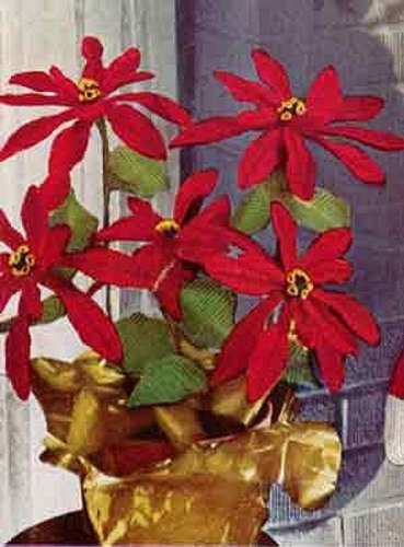 POINSETTIA PLANT Crochet Pattern - Vintage 1951 Pattern - Downloadable Ebook (ePattern) - AVAILABLE FOR DOWNLOAD to Kindle DX, Kindle for PC, Mac, iPhone, ... decoration, holiday, gift, pdf, crocheted)