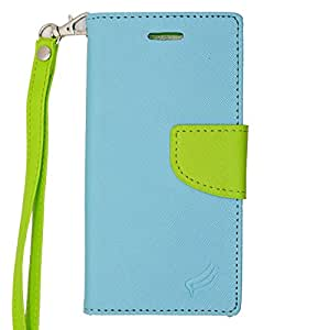 Eagle Cell Flip Wallet PU Leather Protective Case for Apple iPhone 6 - Retail Packaging - Green/Light Blue