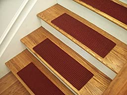 Essential Carpet Stair Treads - Style: Ribbed - Color: Red Wine - Size: 24\
