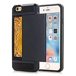 iPhone 7 Wallet Case, VL Wallet Card Holder Slim Fit Dual Layer Shockproof Cover Flexible Protective with Card Slots for Apple iPhone 7(2016) (Black)