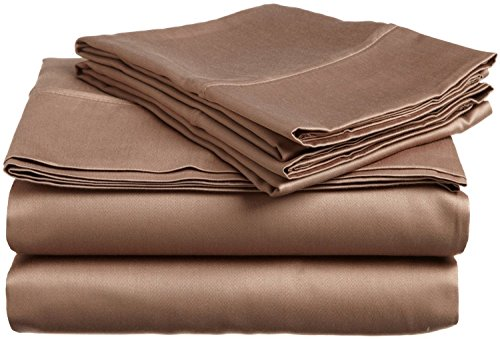 600 Thread Count Deep Pocket Mattress 18 Inches Rv Camper Short Queen 100% Egyptian Cotton Solid Taupe 1-Piece Fitted Sheet Made By Brand Srp Linen front-1041402