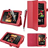 Executive PU Leather Amazon Kindle Fire HD 7 inch 2013 Case Cover Multi Function Standby Bi-Fold Stand with Built-in Magnet for Sleep / Wake Feature + Screen Protector + Capacitive Stylus Pen for New Kindle Fire HD 7-inch 2013 Tablet 16GB or 32GB - Red