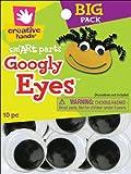 Fibre Craft 10-Pack Glue-On Googly Eyes, 40mm, Black