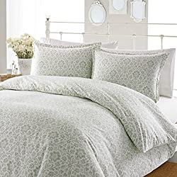 Laura Ashley Jayden Flannel Duvet Cover Set, King, Sage