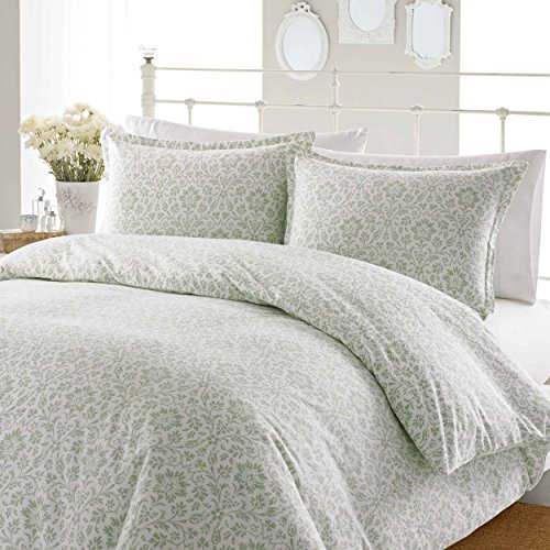 Laura Ashley Jayden Flannel Duvet Cover Set, Full/Queen, Sage front-65889