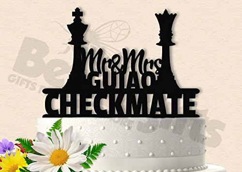 Mr and Mrs Checkmate Chess Inspired Wedding Cake Topper