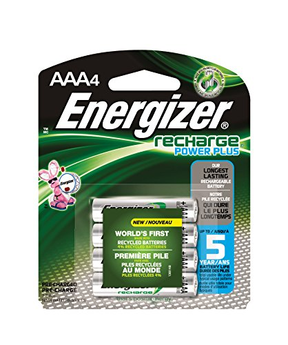 Energizer EVENH12BP4 Recharge Power Plus AAA 700 mAh Rechargeable Batteries, Pre-Charged (Pack of 4) (Batteries Recharge compare prices)