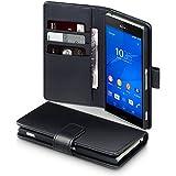 Terrapin Echt Leder Brieftasche Case Tasche mit Kartenf�cher und Bargeld f�r Sony Xperia Z3 H�lle Schwarz