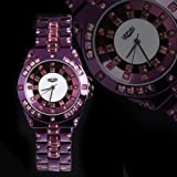 Yesurprise Diamond Series Lady Steel Band Crystal Dimond Quartz Watch Purple