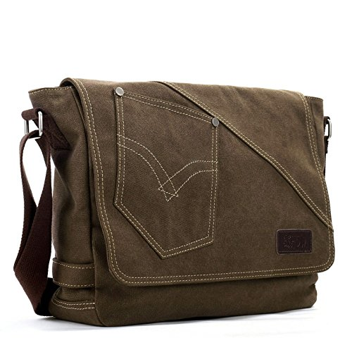 Eshow Men's Casual Flapover Canvas Cross Body Messenger Bag, Brown