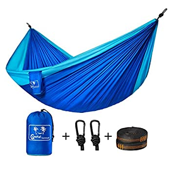 Camping Hammock, Coofel Portable Double Hammock Nylon Parachute Hammock for Travel Camping with Hammock Straps And Solid Steel Carabiners(Blue & Sky blue)
