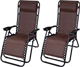 Mega Zero Gravity Outdoor Infinity Patio Deck Folding Adjustable Lounge Pool Beach Recliner Chairs - 2 pack (Brown)