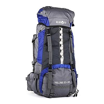 Klarfit Heyerdahl-2014 Travel- Backpacker- Rucksack Trekkingrucksack mit Regenhülle (85+10L, Toploader, X-Transition, viele Fächer , verstellbar, Brustgurt)