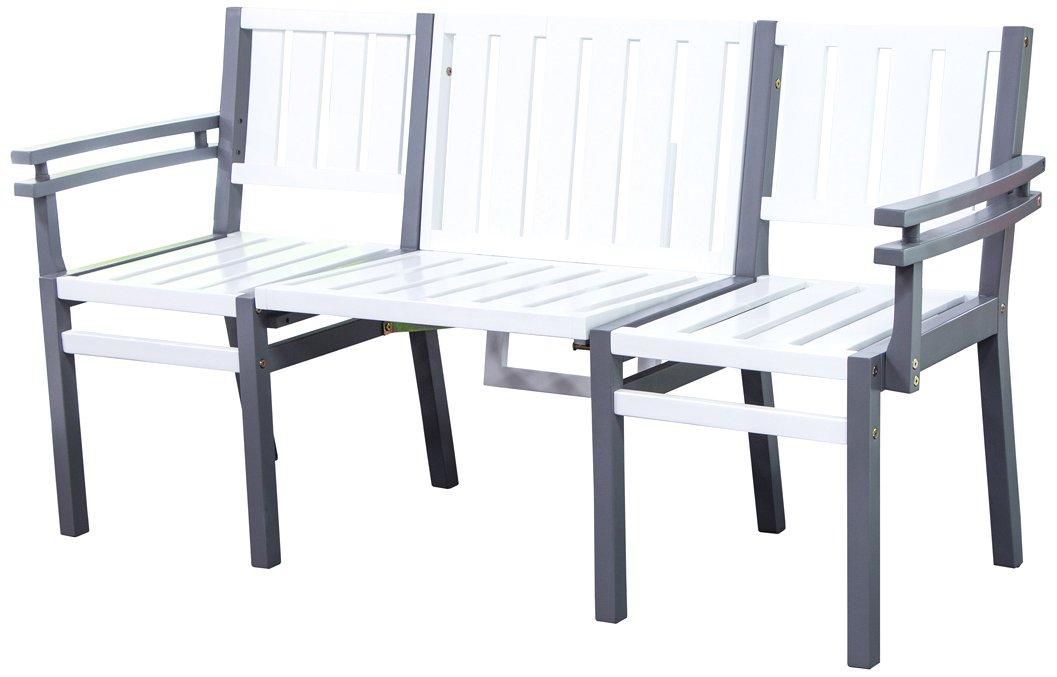 Siena Mybalconia 273797 LoveBench Seattle Gestell Akazie FSC® 100% grau lackiert Flächen Akazie FSC® 100% weiß lackiert Multifunktionell