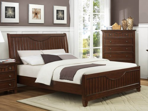 Alyssa Shutter Queen Bed By Home Elegance In Cherry