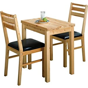 Essentialz Solid Pine Extendable Dining Table And 2 Chairs With Microfibre HS