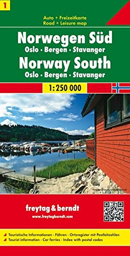 Sur de Noruega, Oslo, Bergen, Stavanger mapa de carreteras. Escala 1:250.000. Freytag & Berndt. (Auto karte)