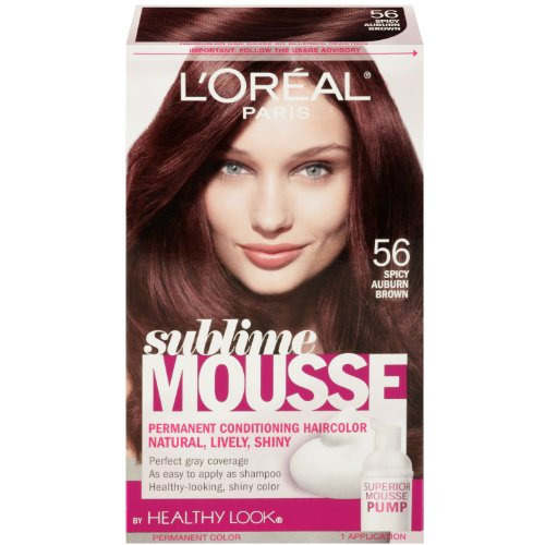 L'Oreal Paris Sublime Mousse By Healthy Look Hair Color, 56 Spicy Auburn Brown