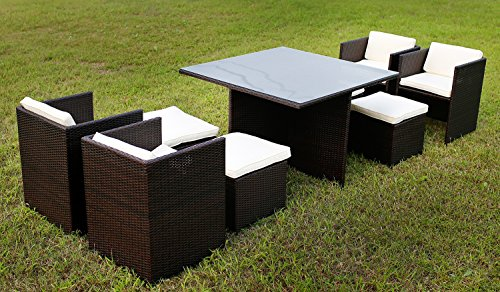 9 Pc Modern Outdoor All Weather Wicker Rattan Table Patio