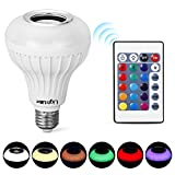 LightMe Intelligent E27 LED White + RGB Light Ball Bulb Colorful Lamp Smart Music Audio Bluetooth 3.0 Speaker with Remote Control for Home, Stage(White-3)