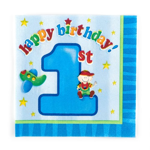 Boy's Playtime 1st Birthday Lunch Napkins