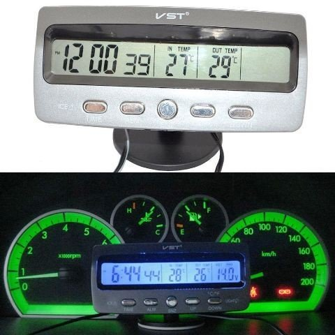 lcd car voltage monitor battery alarm in out temperature thermometer clock 12v for mahindra. Black Bedroom Furniture Sets. Home Design Ideas