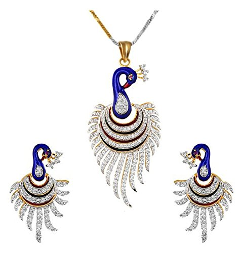 YouBella CZ Designer Peacock Pendant Set / Necklace Set with Chain and Earrings for Girls and Women
