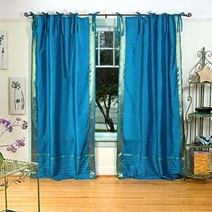 Turquoise Tie Top Sheer Sari Curtain Drape Panel 43w X 84l Piece Window