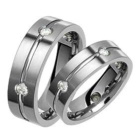 Lovers Titanium Wedding Band Set with Diamonds