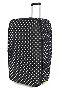 "5 Cities Large 26"" Inch Lightweight Expandable Suitcase, Check-in Luggage Wheeled Rolling Bag with 3 Years Warranty! (Black Polka dot)"