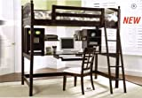 Solid Hardwood Cappuccino Finish Workstation Bunk Bed