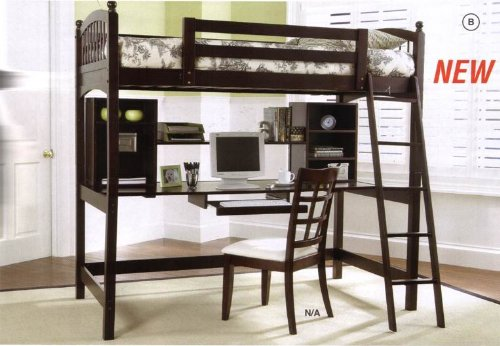 Hardwood Cappuccino Finish Workstation Bunk Bed